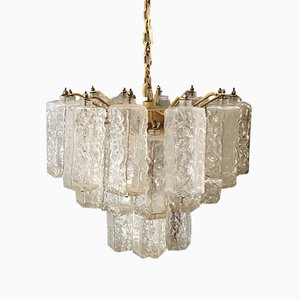 Mid-Century Italian Murano Glass and Metal Chandelier from Venini, 1960s