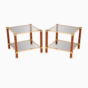 Vintage French Walnut & Glass Side Tables, 1970s, Set of 2
