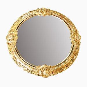 Espejo francés estilo barroco vintage redondo dorado, década de 1800