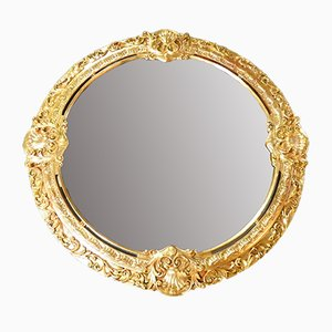 Vintage Baroque Style French Gold Leaf Round Mirror, 1800s