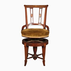 Antique Mahogany Marquetry Inlaid Swivel Harpists Chair