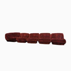 Mid-Century Italian Beige, Brown & Brick Red Velvet Nuvolone Modular Sofas by Mimo J. Padova, 1970s, Set of 14