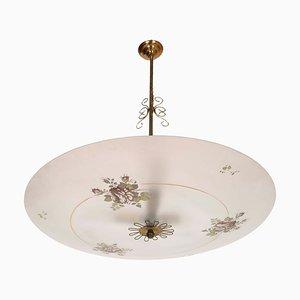 Art Deco Italian Murano Glass and Gilt Brass Pendant Lamp, 1930s