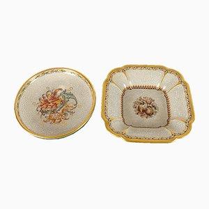 Vintage Danish Porcelain Crackle Bowls by Dahl Jensen, 1930s, Set of 2