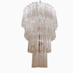 Lámpara de araña grande de cristal de Murano de Paolo Venini, años 70