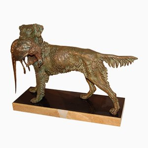 Spaniel With Pheasant Sculpture by Jules Moigniez, 1920s