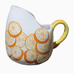 Large Italian Orange Ceramic Pitcher from Ernestine, 1960s