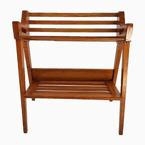 Mid-Century Oak Magazine Rack with Shelves from ULUV, 1960s