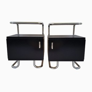 Vintage Tubular Chrome Nightstands from Hynek Gottwald, 1940s, Set of 2