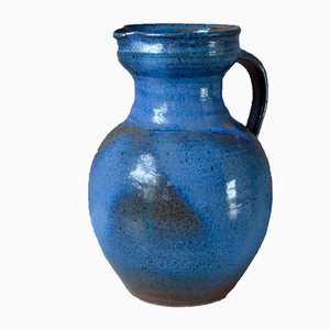 Blue Ceramic Pitcher by G. Roy, 1970s