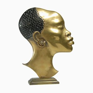 Brass Female Head in the Style of Hagenauer, 1950s