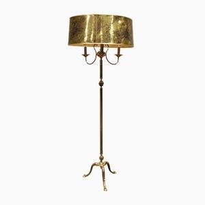 Neoklassizistische Vintage Dreibein Stehlampe aus Messing, 1960er