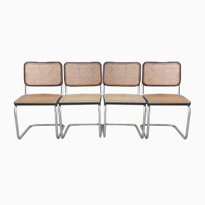 Bauhaus Black Model S32 Cantilever Dining Chairs by Marcel Breuer for Thonet, 1981, Set of 4
