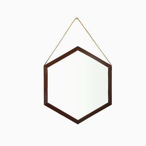 Espejo hexagonal de teca, años 60