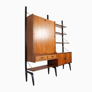 Mid-Century Teak Modular Wall Unit with Folding Table by Louis van Teeffelen for WéBé, 1950s