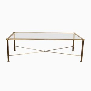 Vintage Faux Brass Metal and Glass Coffee Table, 1960s