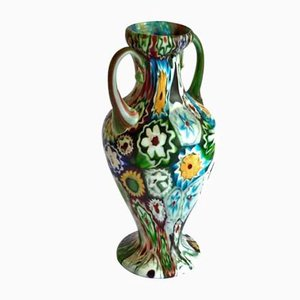 Antique Murano Glass Murrine Millefiori Vase by Fratelli Toso, 1900s