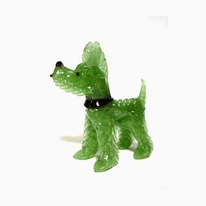 Art Deco Murano Glass Pulegoso Terrier Sculpture, 1920s
