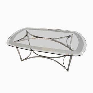 Glass and Chrome Glass Dining Table by Alessandro Albrizzi, 1970s