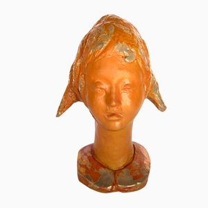 Italian Glazed Ceramic Child Head Sculpture by Silvano Fabbri, 1960s