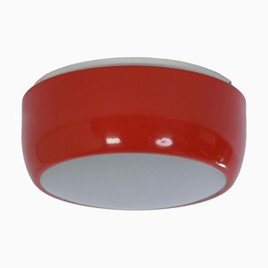 Orange Metal and Glass Ceiling Lamp from Napako, 1950s