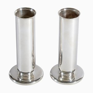 Silver Plate Alpacca Vases or Candlesticks by Gio Ponti for Krupp, 1936, Set of 2