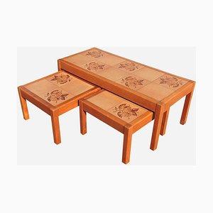 Tables Basses Mid-Century en Teck et Céramique de Gangsø Møbler, Danemark, 1960s, Set de 3