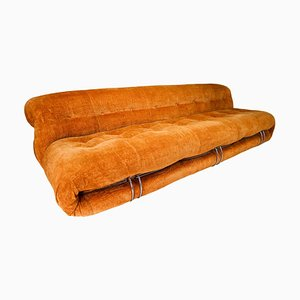 Large Soriana Sofa in Gold Fabric by Afra & Tobia Scarpa for Cassina, 1969