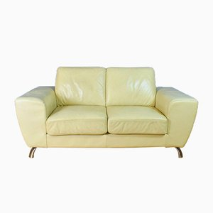 Mid-Century Italian Cream Leather 2-Seat Sofa Settee Couch from Moroso, 1980s