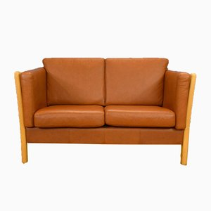 Mid-Century Danish Tan Leather 2-Seat Sofa in the Style of Stouby, 1980s