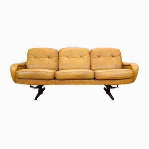 Mid-Century Danish Caramel Leather & Rosewood 3-Seat Sofa from Madsen & Schubell, 1970s