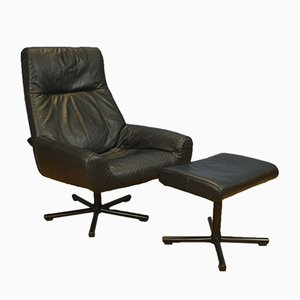 Mid-Century Danish Black Leather Swivel Reclining Armchair & Stool, Set of 2