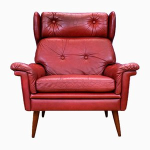 Mid-Century Danish Red Leather Wingback Lounge Armchair from Skipper