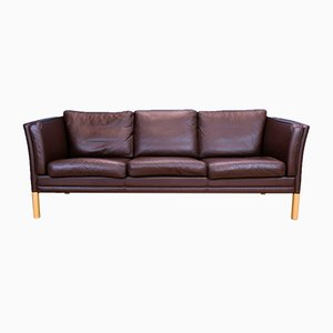 MId-Century Modern Danish Brown Leather 3-Seat Sofa from Mogens Hansen