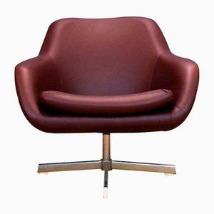 Mid-Century Danish Maroon Faux Leather Swivel Lounge Chair, 1960s