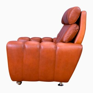 Mid-Century Danish Tan Leather Lounge Armchair from Skipper, 1960s