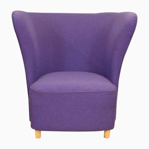 Mid-Century Modern Danish Purple Heavy Cotton Weave Lounge Club Armchair