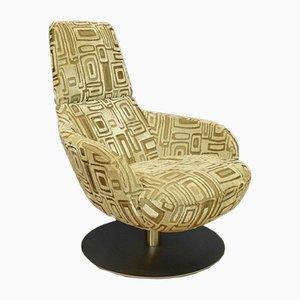 Mid-Century Italian Lounge Swivel Chair in Beige Figured Velour from Natuzzi