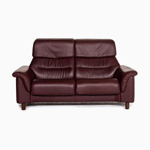 Dark Red Brown Leather 2-Seat Function Sofa from Stressless