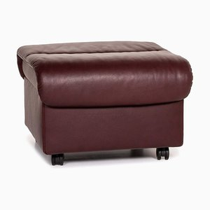Dark Red Brown Leather Function Storage Space Ottoman from Stressless