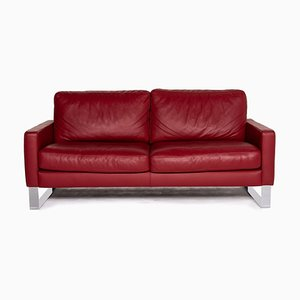 Red Leather 2-Seat Sofa from Machalke