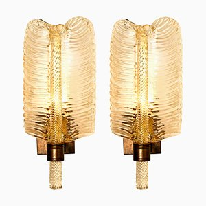 Gold Toned Glass Wall Sconces from Barovier & Toso, Italy, 1960s, Set of 2
