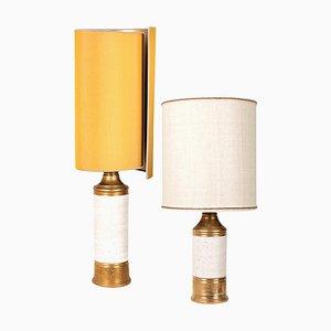 Tischlampen aus Birkenholz mit Lampenschirm aus Seide von Bitossi, 1960er, 2er Set
