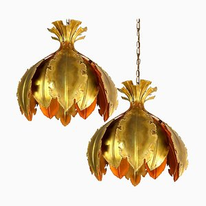 Brutalist Acid Treated Brass Pendant Lamps by Svend Aage for Holm Sorensen, 1960s, Set of 2