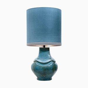 Keramik Duttz Tischlampe mit Lampenschirm aus Seide, 1960er