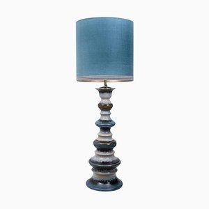 Large Ceramic Floor Lamp with Silk Lampshade, 1960s
