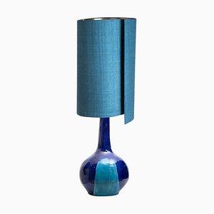 Lampada da tavolo grande in ceramica con paralume in seta, anni '60