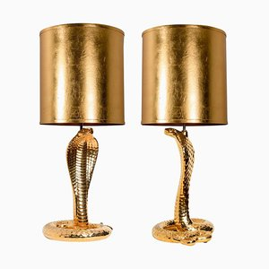 Ceramic Cobra Table Lamps by Tommaso Barbi, 1960s, Set of 2