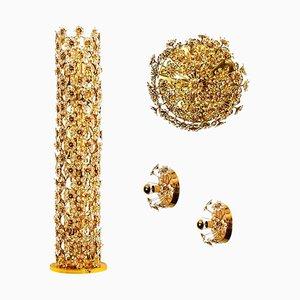 Vergoldete Kristallblumen Leuchten von Palwa, 1970er, 4er Set