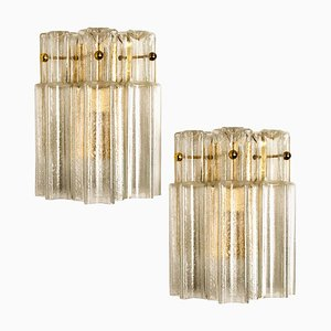 Clear Glass and Brass Wall Lights by J.T. Kalmar, Austria, 1960s, Set of 2